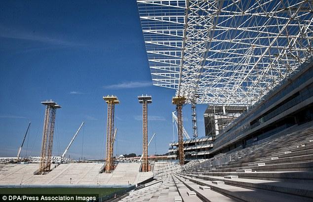 ブラジルのスタジアムの被災者