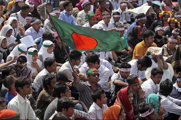 バングラデシュイスラム、イスラムChhatra Shabbar労働者が街頭に