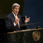 国連の会議で話す米国務長官、