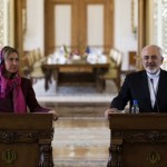 EUの外交政策チーフの記者会見フェデリカMogheriniを伴うイランの外務大臣ムハンマド・ジャヴァドZarif、