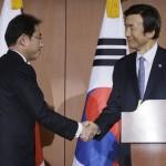 日本の外務大臣岸田文雄と韓国の外務大臣尹炳世
