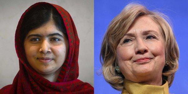元米国務長官のヒラリークリントンとノーベル賞を受賞したパキスタンの女子高生マララ・ユスフザイ