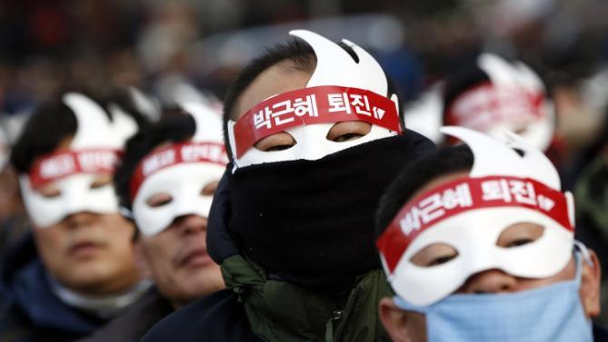 韓国では、何千人もの人々は、反政府集会に参加しました