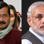 デリー首席大臣アルビンド・ケジリワルとインドの首相ナレンドラ・モディ