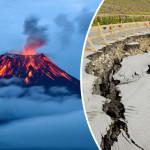 脅威について警告している火山が爆発し、世界は恐ろしい地震の専門家を震え