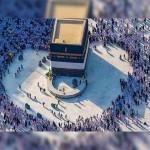 心臓の形、人気のソーシャルメディアでのカーバ神殿の画像のTawaf