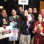 テンダウニング街のランドマークカシミール人は、ロンドンで抗議します