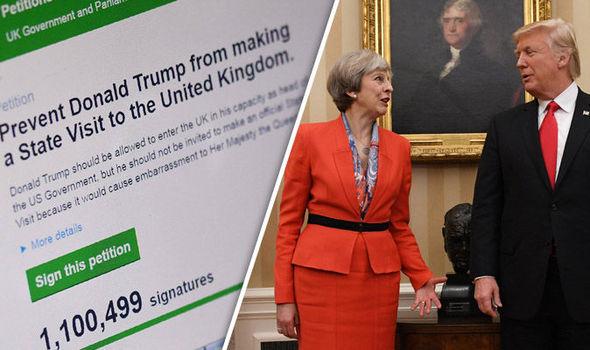 Theresa May 月英国総理大臣は、今年のドナルドトランプ大統領を訪問すると予想される英国の国民に対する嘆願を拒否する