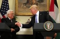 パレスチナ自治政府のマフムード・アッバス大統領がドナルド・トランプ・ホワイトハウス大統領と会見