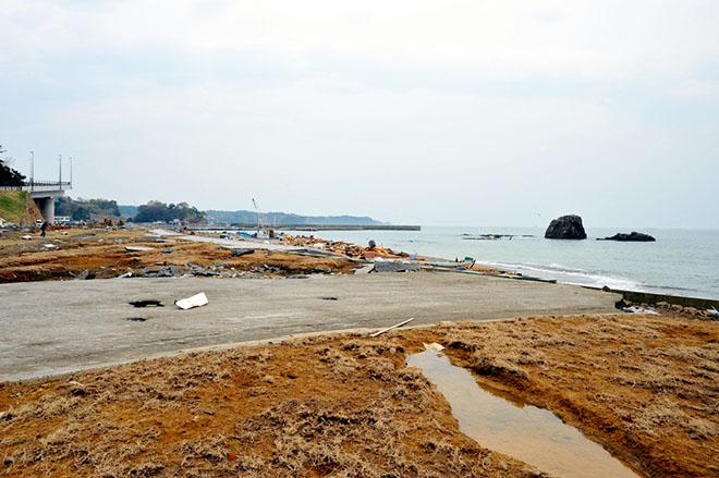 先週、宮城県七ヶ浜町の袖ヶ浜の海岸線の建設が進んだ