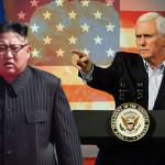 米国のマイク・ペンス副大統領と金正日(キム・ジョンウン)北朝鮮首席代表
