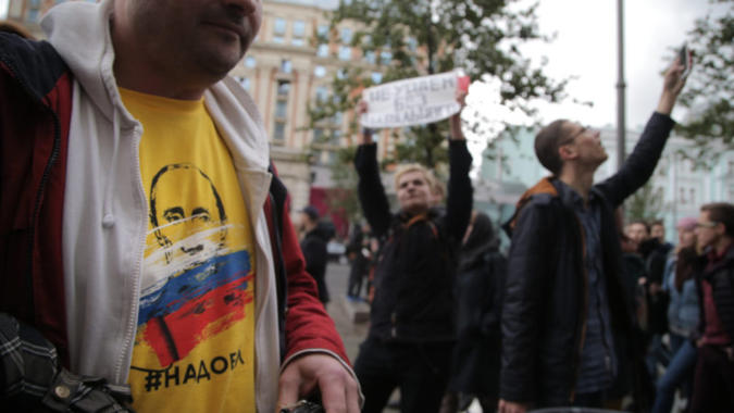 プーチンの誕生日に抗議