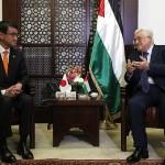 日本のコノンド太郎外相、パレスチナのマフムード・アッバス大統領