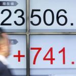 日経平均株価は23506で、前年の終わりに比べて741ポイント上昇した