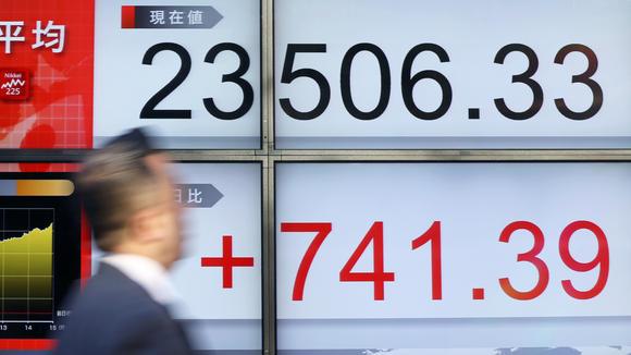 日経平均の225種目の平均値は23714で取引を終え、木曜日の終値から208ポイント上昇した