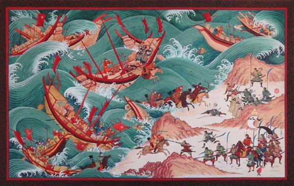 1274年11月、中国のモンゴル皇帝クブライカン艦隊の強力な海軍陸軍が海上で日本を攻撃した