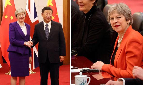 テレッサ・メイ英首相と西平晋平中国大統領