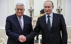 パレスチナのマフムード・アッバス大統領とロシアのプーチン大統領