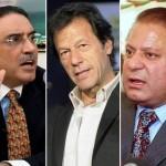 PML-N Nawaz Sharif、Tehreek-e-InsafのImran Khan、PPPのAsif Ali Zardari