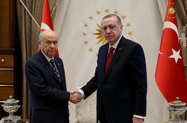 トルコ大統領Recep Tayyip Erdoganと国民運動党首Devlet Bahceli
