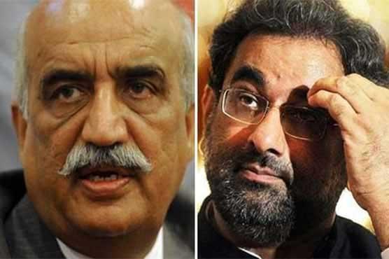Shahid Khaqan Abbasi首相と野党のKhursheed Shah首相