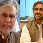 元首相Shahid Khaqan Abbasiと元財務大臣Ishaq Dar