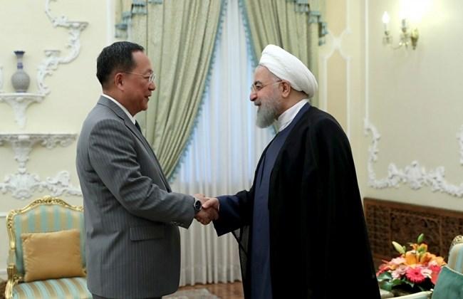 イランのハッサン・ロハニ大統領と北朝鮮のリ・ヨンホ外相
