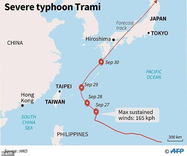 台風Tramiは日本の島宮古島に時間当たり13キロの速度で移動しま
