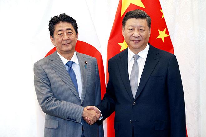 安倍晋三首相と西平晋元中国大統領