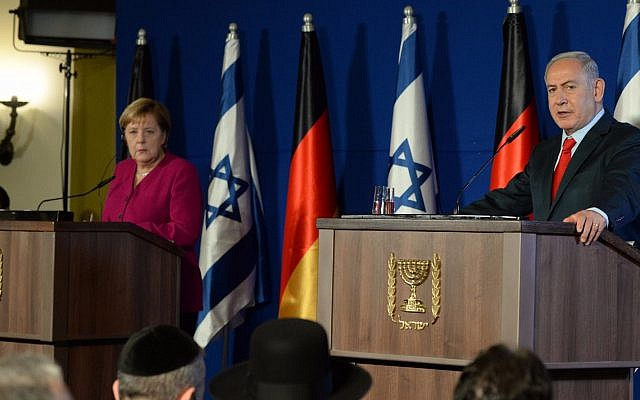 ドイツのアンゲラ・メルケル首相とネタニヤフ首相の共同記者会見