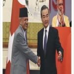 新ネパール外務大臣Pravid Kumar Jolie、中国外相Wang Yi、インド首相Narendra Modi