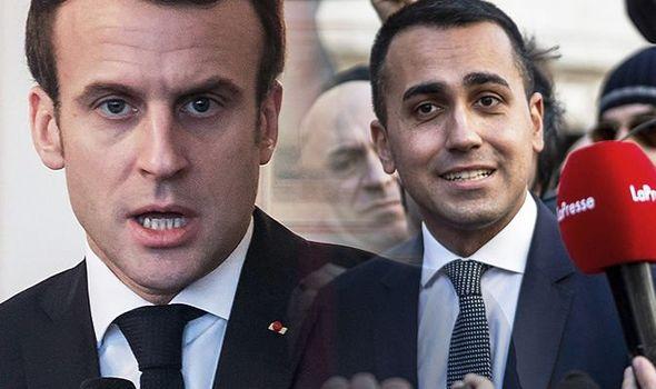 フランス大統領Emmanuel Macronとイタリアの副首相Luigi Di Maio