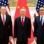 米国通商代表のRobert Lighthizer、中国の副首相のLiu Heおよび米国財務長官のSteven Mnuchin