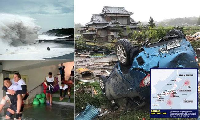 日本史上最も強力な台風ハギビスが土曜日の朝に大混乱を引き起こしました。
