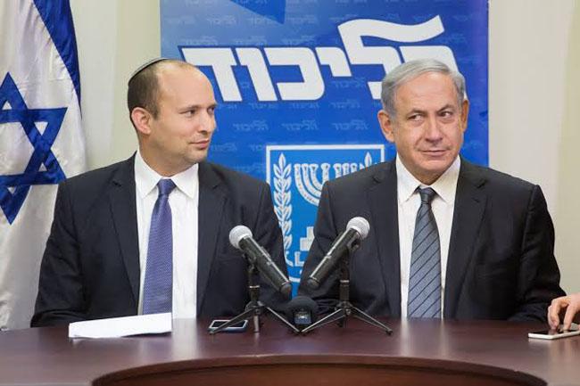 イスラエルのベンジャミン・ネタニヤフ首相と右翼の強硬派指導者ナフタリ・ベネット