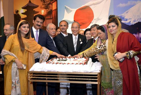 日本大使館の日本皇帝の60周年に、式典がイスラマバードで開催されました。