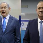 イスラエルの首相、ベンジャミンネタニヤフと彼の政治的ライバル、ベニーガンツ
