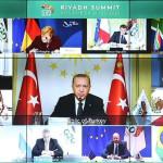 サウジアラビアでのG20サミットで演説するトルコ大統領