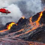 暑さで火山周辺の雰囲気が赤くなった